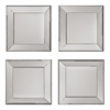 Time Square 4 Pc Wall Mirror Set with wide mirrored frames