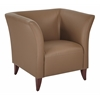 Taupe Faux Leather Club Chair