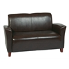 Office Star Mocha Eco Leather Love Seat with Cherry Finish Legs. Rated for 500 lbs of distributed weight. Shipped Semi K/D.