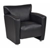 Office Star Black Faux Leather Club Chair with Silver finish Legs