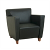 Office Star Black Leather Club Chair with Cherry Finish. Shipped Assembled with Legs Unmounted. Rated for 300 lbs. of distributed weight.