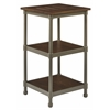 Office Star Sullivan 3 Shelf Curio with Pewter & Walnut Finish