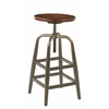 Office Star Sullivan Swivel Stool with Pewter & Walnut Finish