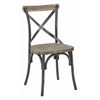 Office Star Somerset X-Back Antique Black Metal Chair with Hardwood Rustic Walnut Seat Finish