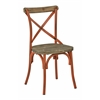 Somerset X-Back Antique Orange Metal Chair with Hardwood Rustic Walnut Seat Finish