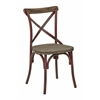 Somerset X-Back Antique Red Metal Chair with Hardwood Rustic Walnut Seat Finish