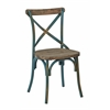Office Star Somerset X-Back Antique Turquoise Metal Chair with Hardwood Rustic Walnut Seat Finish