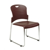 Office Star Burgundy Stack Chair with Sled Base with Plastic Seat and Back. Burgundy. 4 Pack.