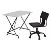Office Star 2-Piece Desk and Chair Set with Frosted Tempered Glass top and Black PVC covered seat and back Chair