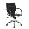 Office Star Trinidad Office Chair With Fixed Padded Arms and Chrome Finish in Black