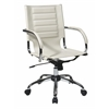 Office Star Trinidad Office Chair With Fixed Padded Arms and Chrome Finish in Cream