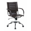 Office Star Trinidad Office Chair With Fixed Padded Arms and Chrome Finish in Espresso
