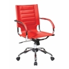Office Star Trinidad Office Chair With Fixed Padded Arms and Chrome Finish in Red