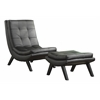 Office Star Tustin Lounge Chair and Ottoman Set With Black Fuax leather fabric & Black Legs