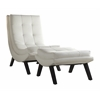 Office Star Tustin Lounge Chair and Ottoman Set With White Fuax leather fabric & Black Legs