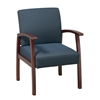 Office Star Deluxe Cherry Finish Guest Chair with Midnight Blue Fabric