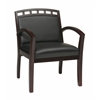 Faux Leather Mahoagny Finish Leg Chair