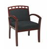 Faux Leather Cherry Finish Leg Chair