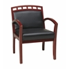 Office Star Faux Leather Cherry Finish Leg Chair with Upholstered Wood Crown Back (1 Pack)
