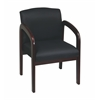Office Star Mahogany Finish Wood Visitor Chair with Black Triangle Colored Fabric