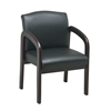 Office Star Faux Leather Mahogany Finish Wood Visitor Chair