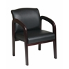 Faux Leather Mahogany Finish Wood Visitor Chair