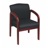Office Star Faux Leather Cherry Finish Wood Visitor Chair