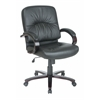 Office Star Eco Leather Mid Back Chair with Mahogany Finish and Wood Base and Arms