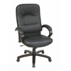 Office Star Eco Leather High Back Chair with Espresso Finish Wood Base and Padded Arms