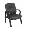 Eco Leather Visitors Chair with Espresso Finish Wood Base and Arms