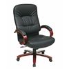 Office Star Eco Leather High Back Chair with Cherry Finish Wood Base and Arms