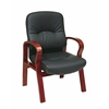 Office Star Eco Leather Visitors Chair with Cherry Finish Wood Base and Arms