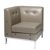 Office Star Wall Street Corner Chair in Smoke Faux Leather