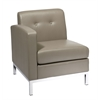 Office Star Wall Street Arm Chair LAF in Smoke Faux Leather