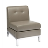 Office Star Wall Street Armless Chair in Smoke Faux Leather