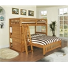 Twin over Full Loft Bed with Six Drawer Chest and Desk, Hutch and Chair in Honey