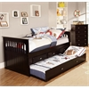 Twin Rake with Trundle and 3 Underbed Drawers in Espresso