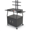 WIDE BODY FLAT PANEL TV CART W/ CABINET (Black)(Box 1 & 2)