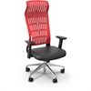 FLY HIGH BACK CHAIR RED WITH ADJ ARMS, ALUM BASE
