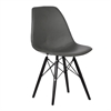 Paula Mid-Century Dining Chair in Black Plywood and Gray Pu