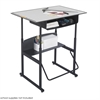 "AlphaBetter® Adjustable-Height Stand-Up Desk, 36 x 24"" Premium Top, Book Box and Swinging Footrest Bar Gray/Black"