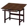 "Alvin Titan Solid Oak Table Walnut Finish 31"" x 42"" x 37"""