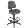 Alvin Black Leather Premo Drafting Height Ergonomic Chair