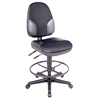 Alvin Black High Back Drafting Height Monarch Chair with Leather Accents