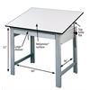 "Alvin DesignMaster Table Gray Base White Top 37.5"" x 60"""