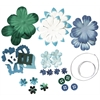 Potpourri Paper Flower & Embellishment Pack Aquas