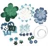 Blue Hills Studio Irene's Garden Potpourri Paper Flower & Embellishment Pack Aquas