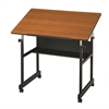 Table Black Base with Woodgrain Top