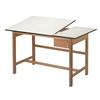 Split Top Solid Oak White Top Drafting Table