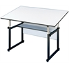 "Alvin WorkMaster Table Black Base White Top 37 1/2"" x 72"""